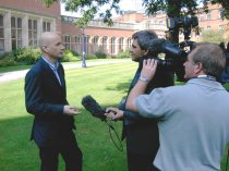 Dr Gary Wood, psychologist,  being interviewed for TV news