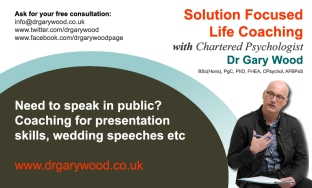 Pic: Advert for coaching for public speaking with Dr Gary Wood