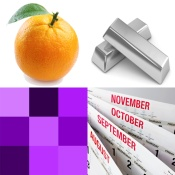 pic: Orange, Silver, Purple, Month Rhymes