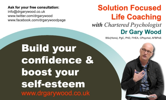 Pic: Ad for confidence and self-esteem coaching with Dr Gary Wood