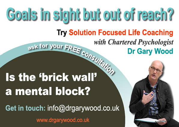 Pic: Advert for coaching with Dr Gary Wood - What if that brick wall is a mental block?