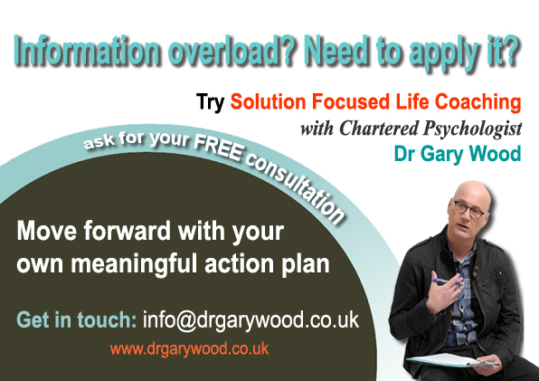 pic; Ad for coaching with Dr Gary Wood - Time to Apply Self-Help Information