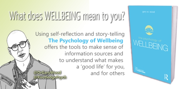 Promo postcard for psychologist Dr Gary Wood's book The Psychology of Wellbeing
